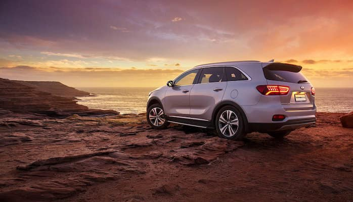 2019 Kia Sorento parked on rocky cliff at sunset