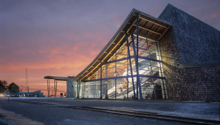 Exterior of Columbia River Maritime Museum at dusk