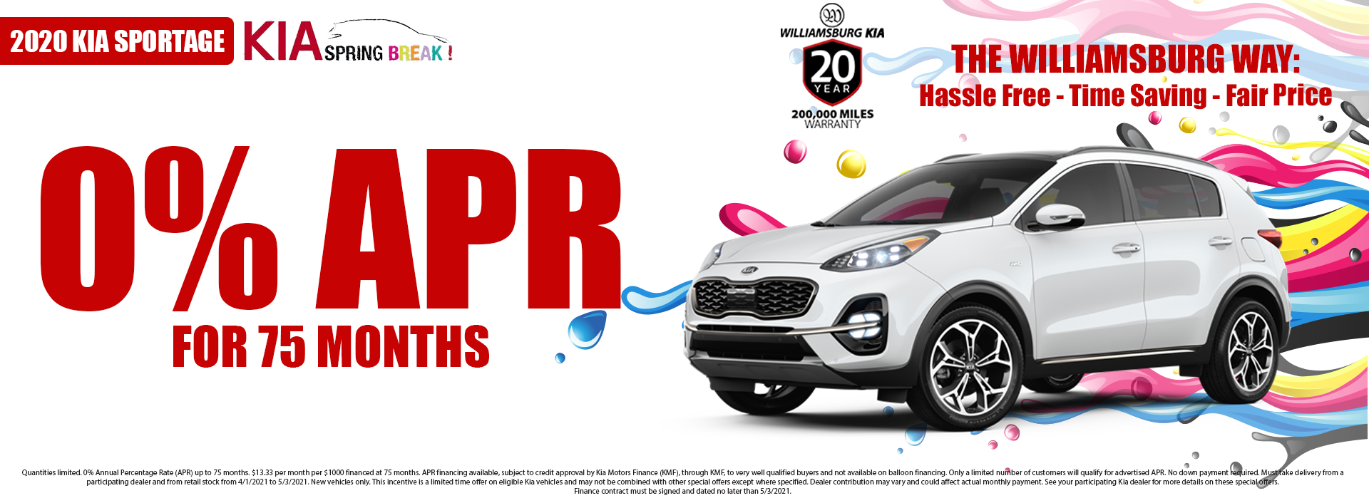 2020 Kia Sportage 0% APR for 75 Months