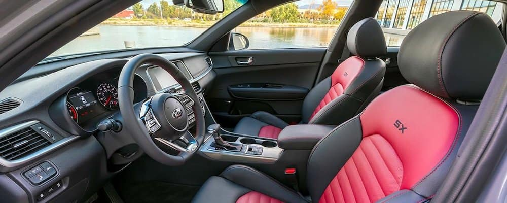 2019 optima sx red and black interior