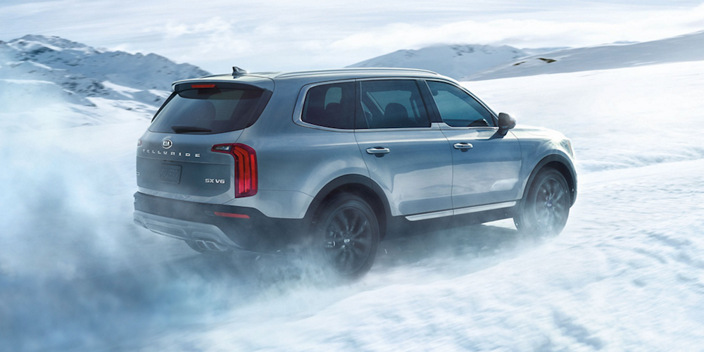 Silver 2020 Kia Telluride on Snow
