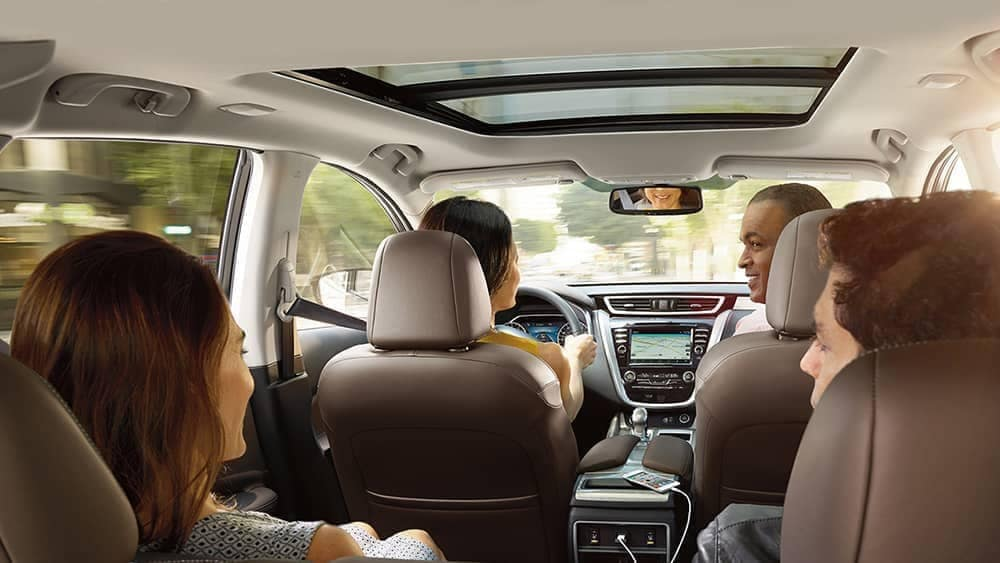 family in interior cabin of 2018 Nissan Murano