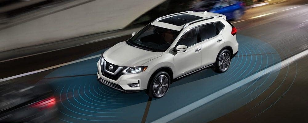 2018 Nissan Rogue with radar lines coming out from front and back