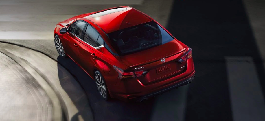 Red Nissan Altima from Above