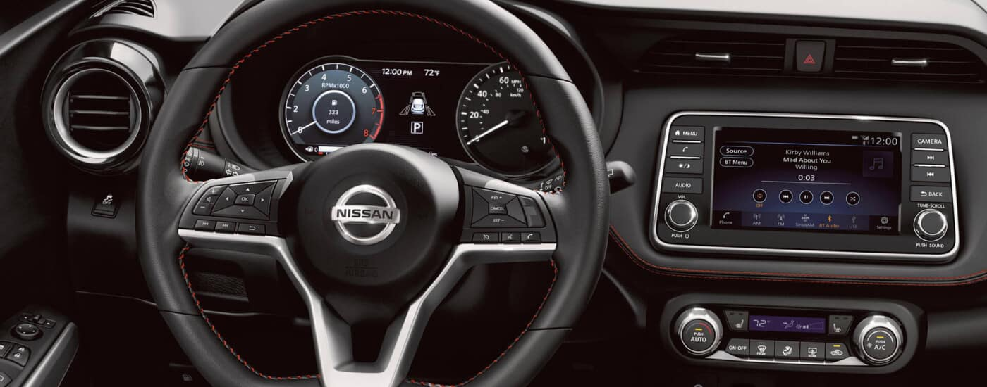 Nissan dashboard with steering wheel