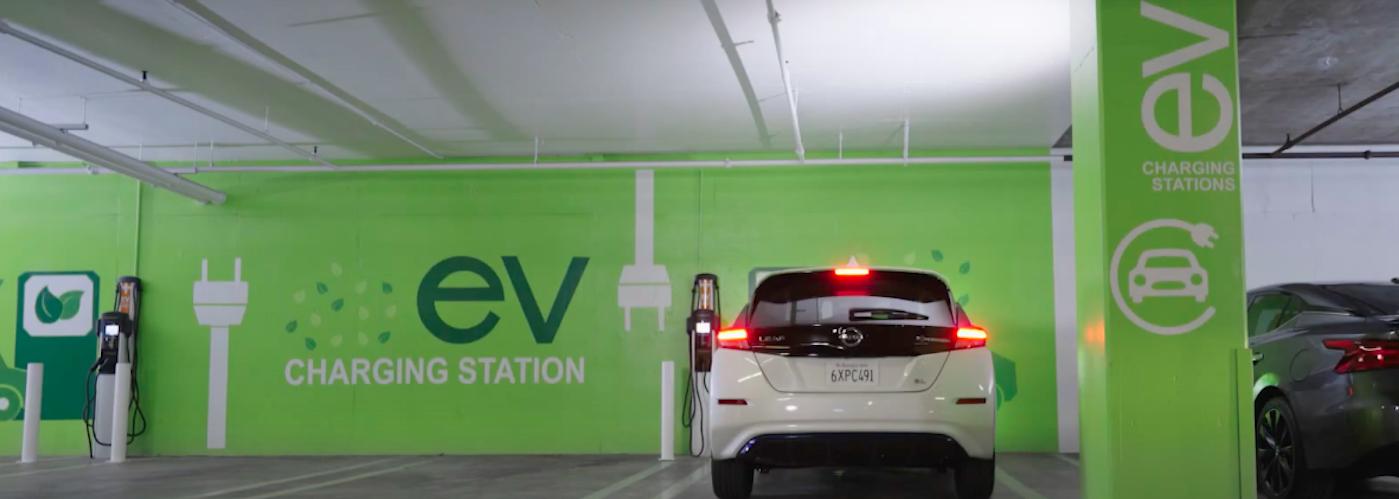Nissan LEAF parked at public charging station