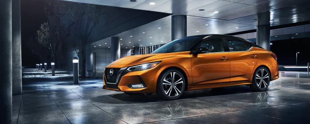 2021 Nissan sentra parked at modern home